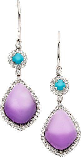 Estate Jewelry Earrings Amethyst Turquoise Diamond White Gold Eli