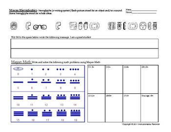 Mayan Math and Heiroglyphics Worksheet Handout | Story of the World ...