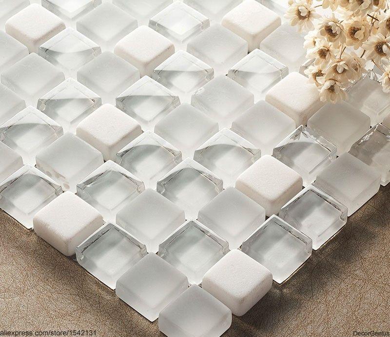 Kitchen Wall Decor Tiles Crystal White Mosaics Glass Bathroom Wall Art Tiles Backsplash