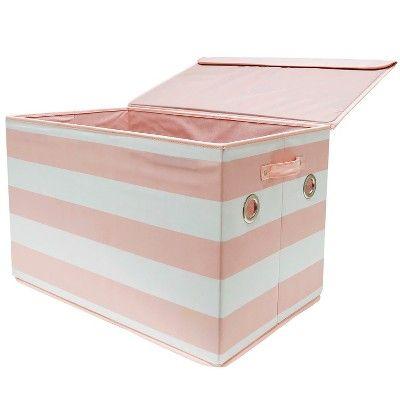 Large Rectangle Stripe Toy Storage Bin Pink Amp White