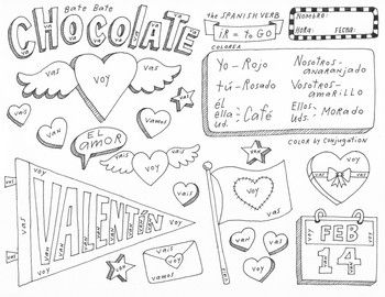 valentine coloring pages spanish | Valentine's Day Color by conjugation Spanish verb ir No ...