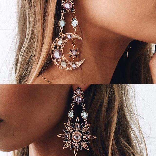 boho hippie crystal jewelry celestial jewelry gold celestial earrings gold crescent moon earrings picasso face earrings