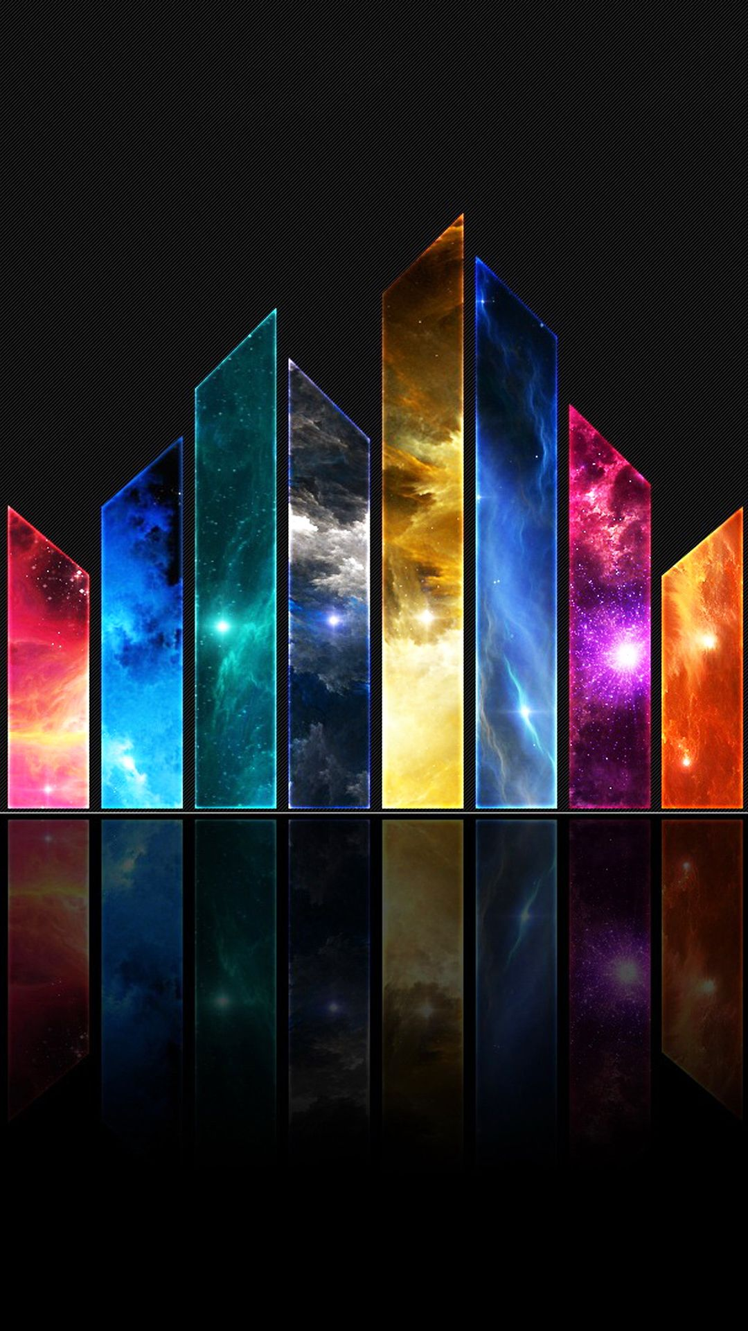 abstract glass shards universe space colors android wallpaper