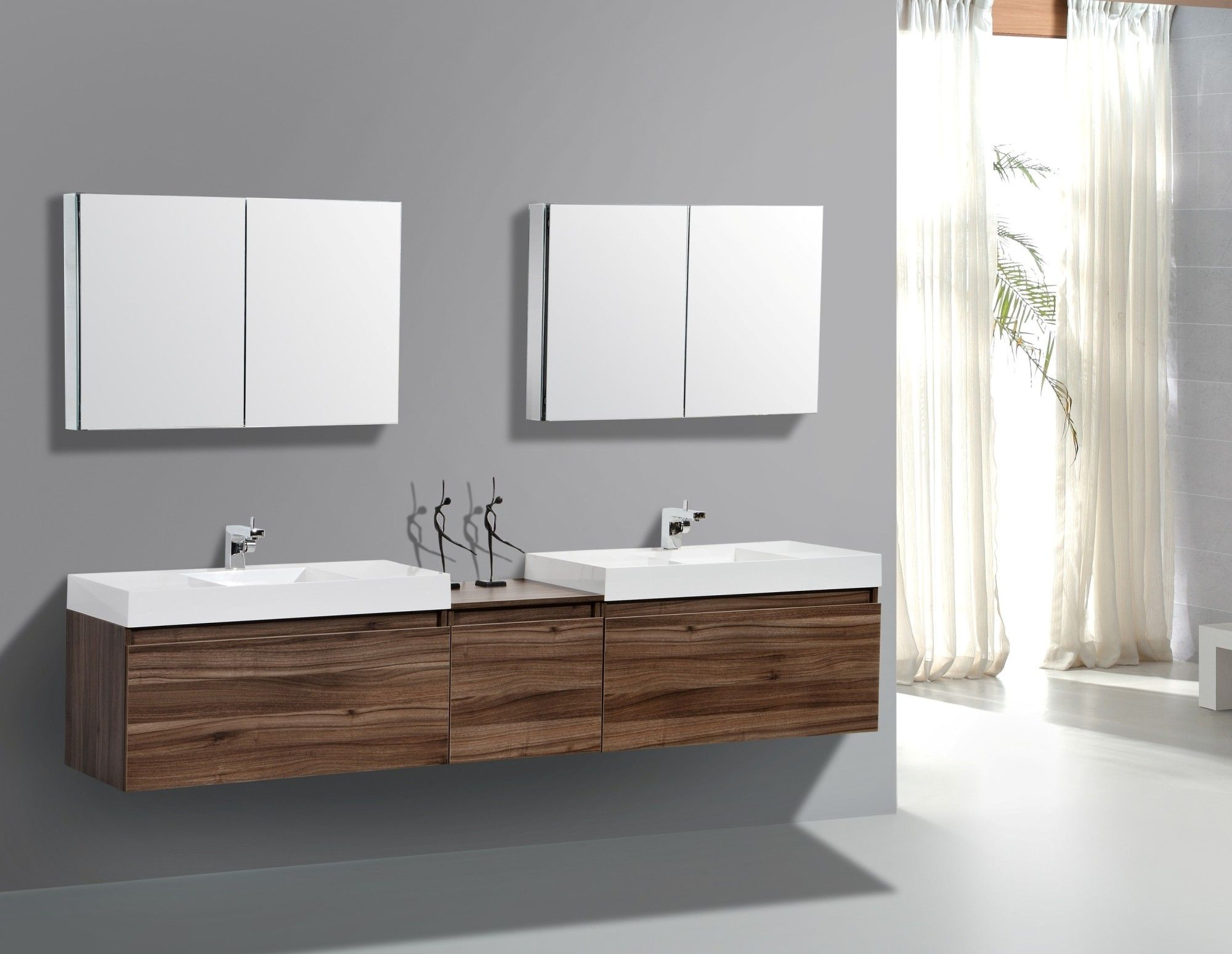 Aquamoon Venice 98 Double Modern Bathroom Vanity Set Walnut Floating Bathroom Vanities Bathroom Vanity Designs Modern Bathroom
