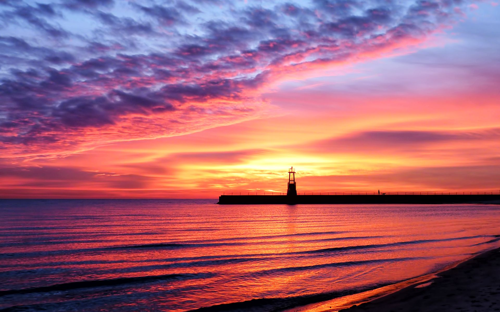 Landscape Sea Sunset Beauty Coast Beach Water Sky Lighthouse Sand Reflection Shine 1920x1200