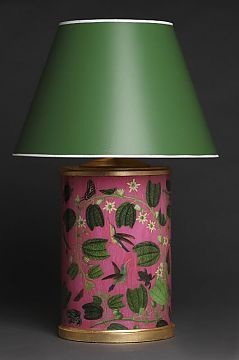 Palm Beach Lamp From Carson And Co Hot Pink Raspberry With A Painted Kelly Green Shade Love This
