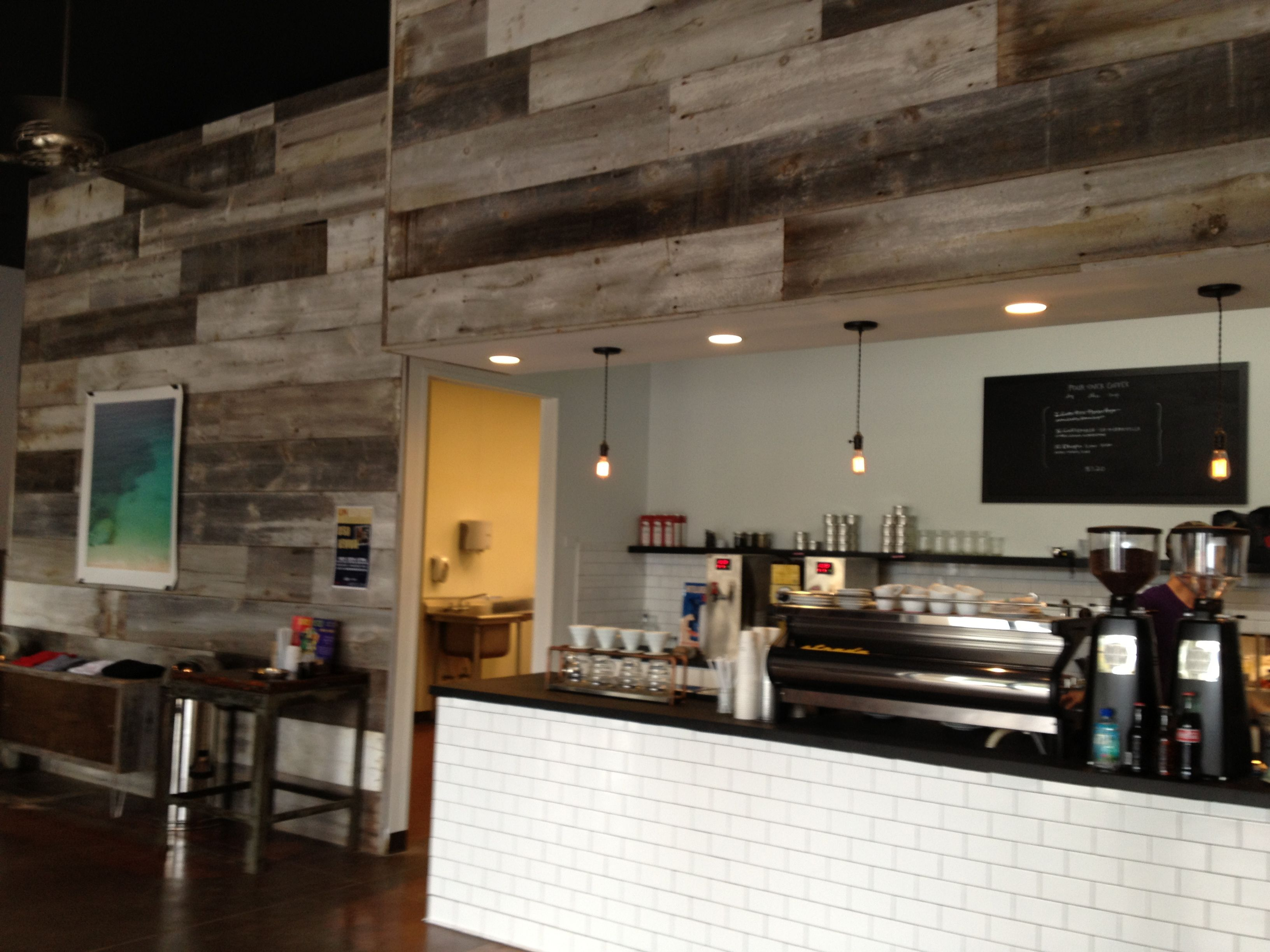 Barn Board Walls At The Collective Coffee Company In Mt Pleasant, SC
