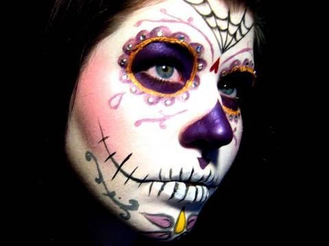How To Apply A Purple Sugar Skull Makeup Look Give Me Some Sugar - Day-of-the-dead-makeup-tutorial-video