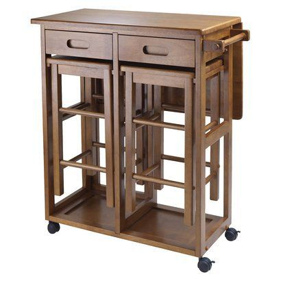 Space Saver With 2 Stools Teak Space Saver Table