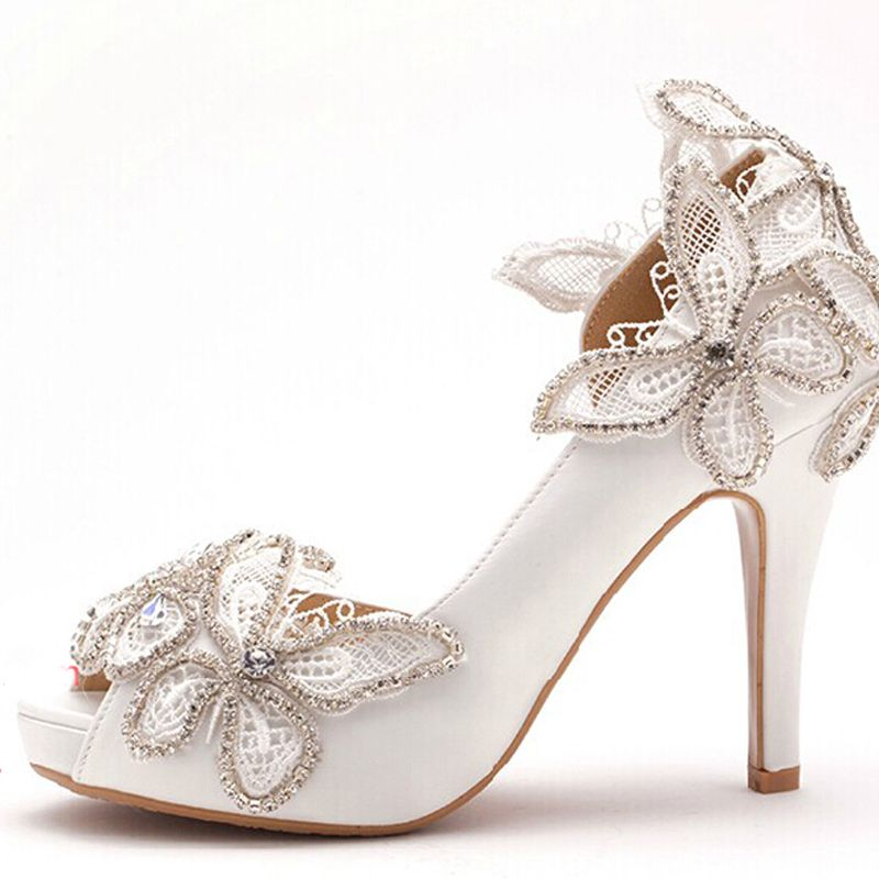 New Women High Heels Rhinestone Bridal Shoes Woman Platforms Ivory Bowtie  Party Prom Pump Bridesmaid Shoes 7b54bee4595a