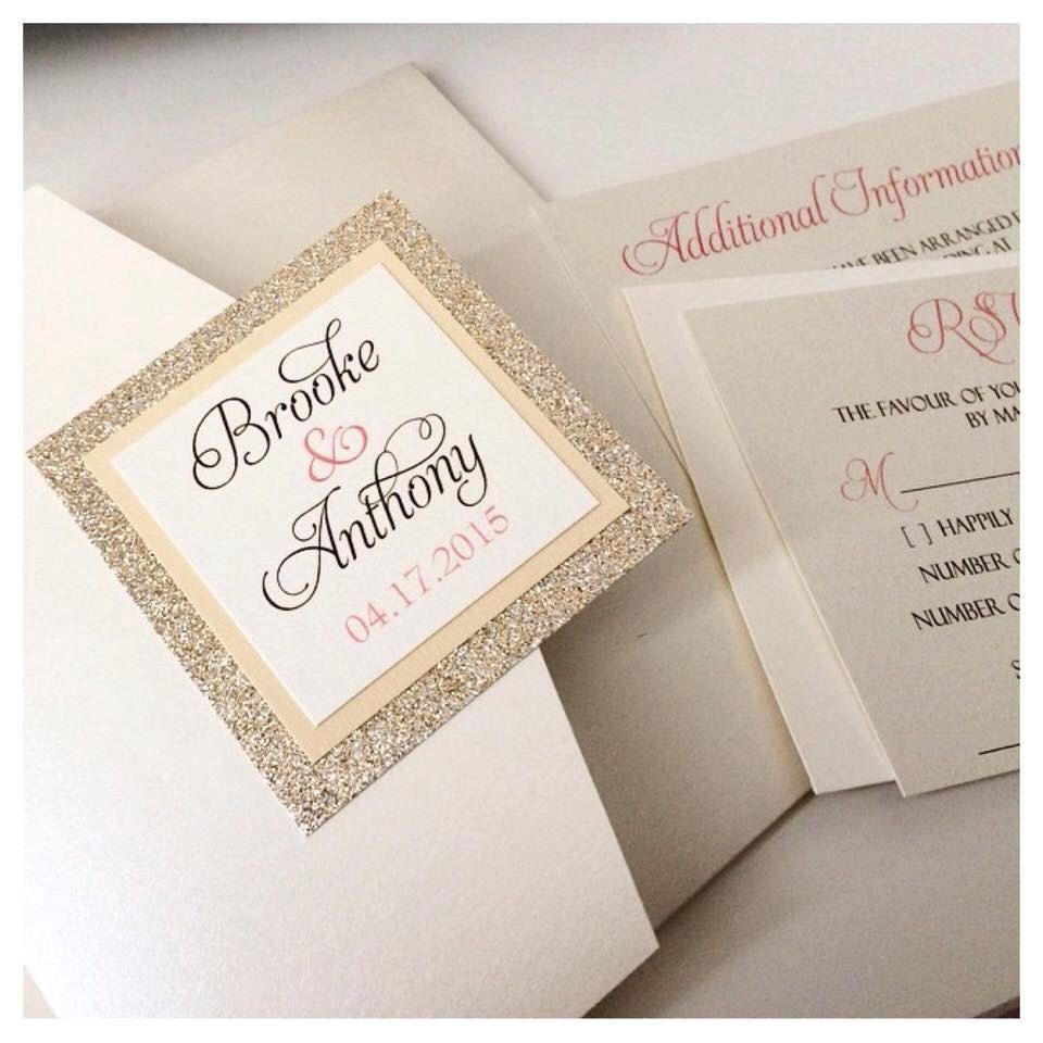 Glitter Wedding Invitation / pocketfold invitation / gold wedding ...