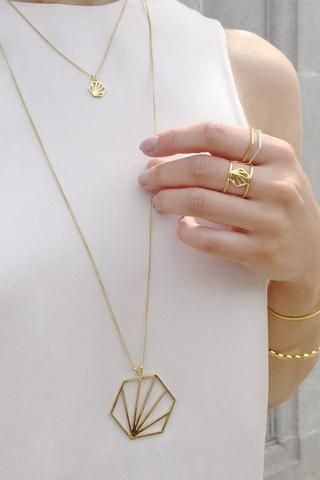 Rachel Jackson Serenity Large Hexagon Necklace Gold/Silver