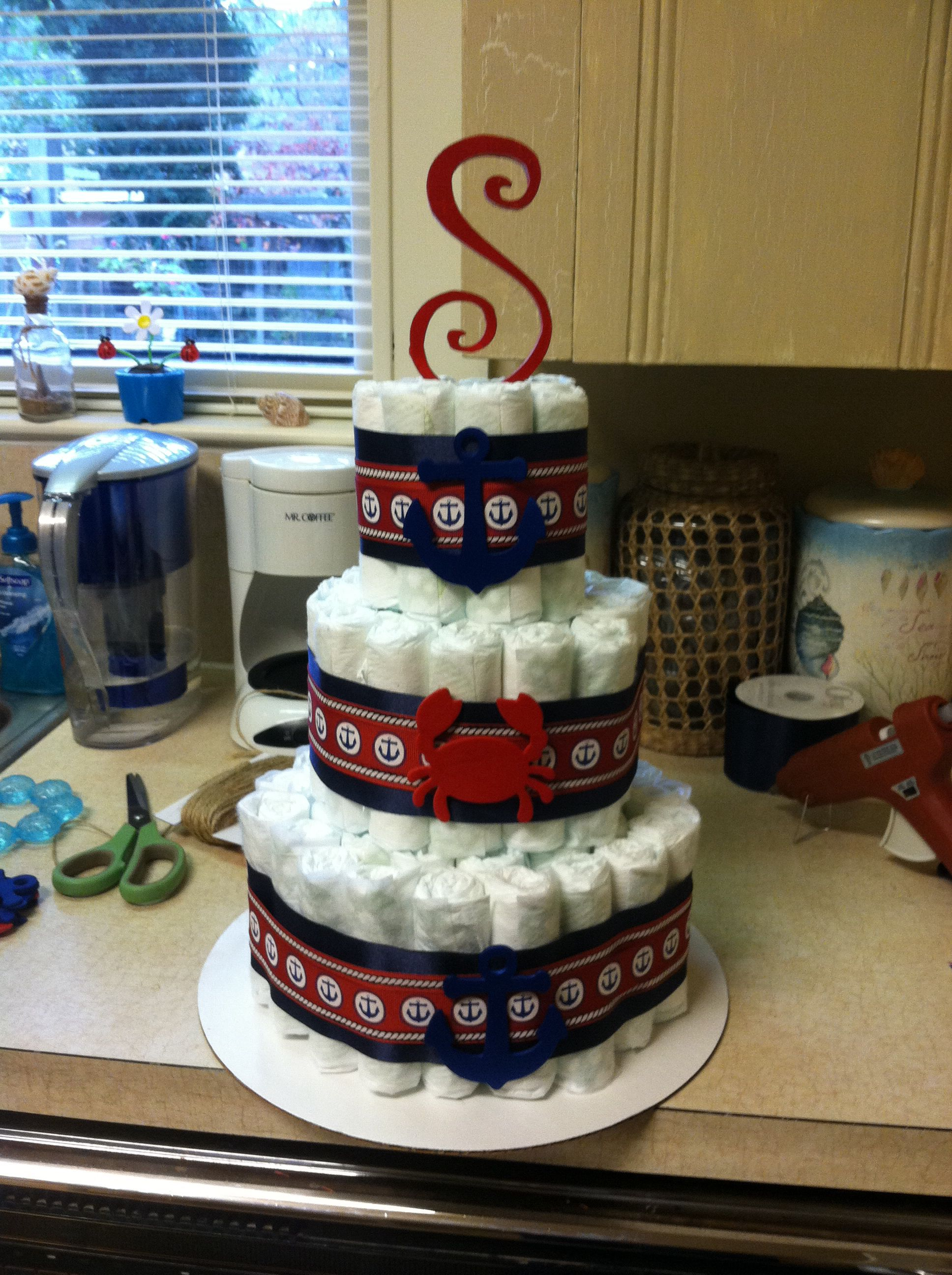 My First Nautical Diaper Cake )