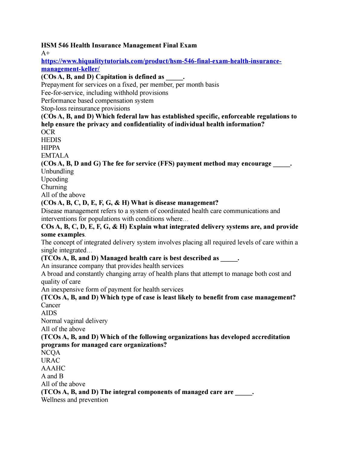 Hsm 546 Health Insurance Management Final Exam Final Exams