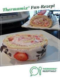 Erdbeerrolle, Biskuitrolle mit Erdbeerfüllung #creamfrosting