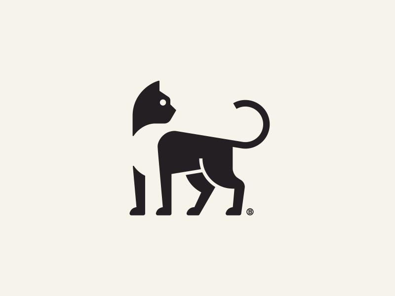 Black Cat Mark Cat Logo Design Logo Design Negative Space Pet Logo Design