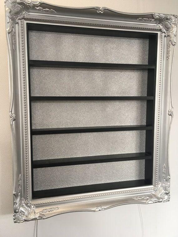 Esmalte de uñas rack display marco plateado cromo y negro brillo con ...