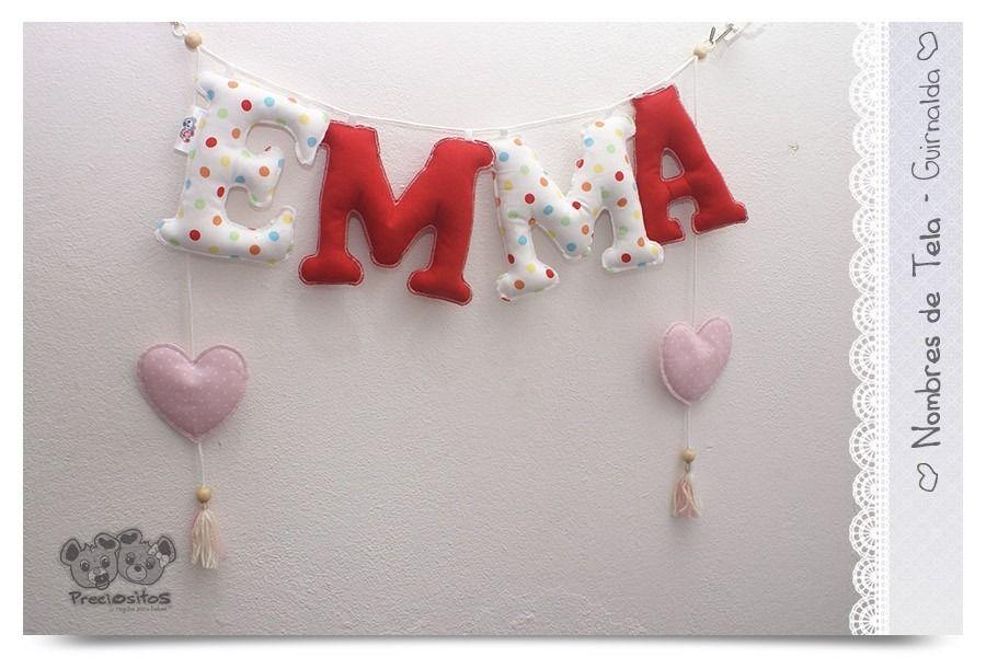 Guirnalda cartel con nombre de beb letras de tela babys - Guirnaldas de tela ...