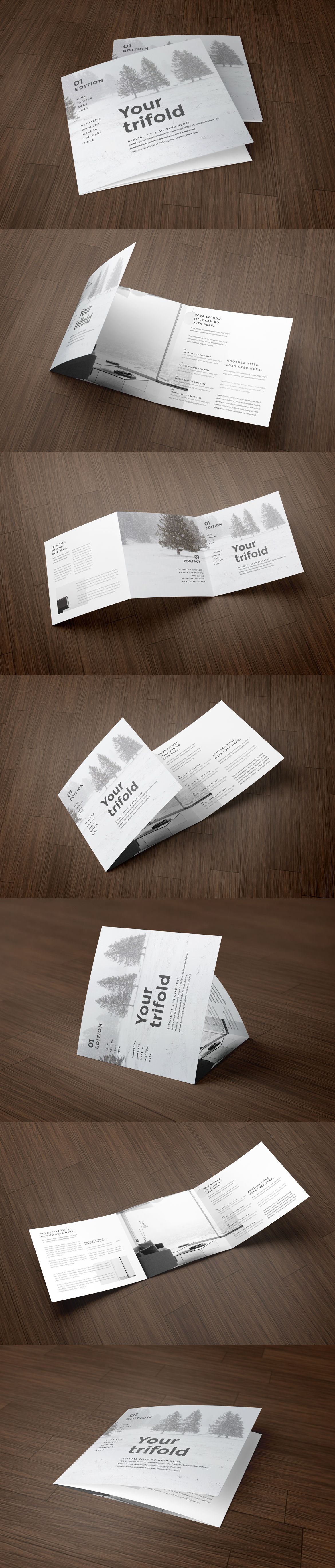 Square Simple Minimal Trifold Brochure Template InDesign INDD ...