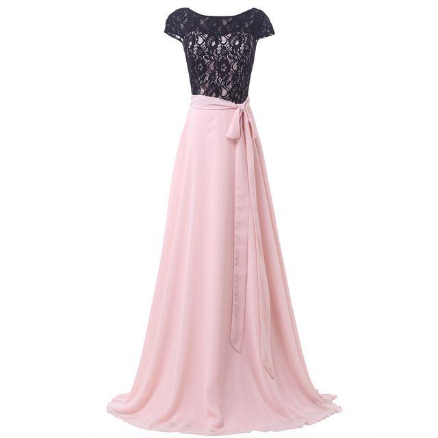 Larga De encaje negro vestido De gracia Karin luz Pink Prom vestidos ...