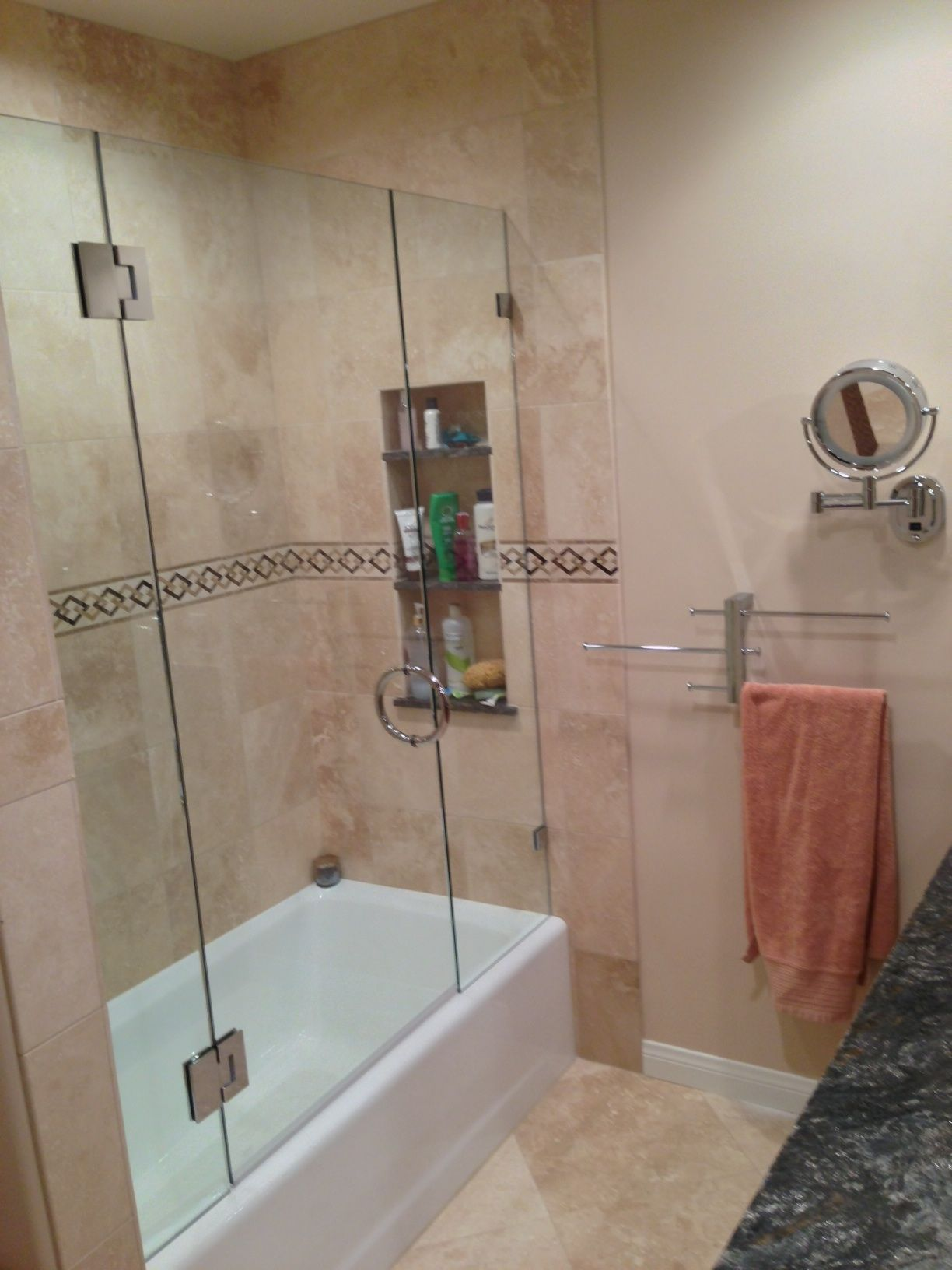 after picture travertine tile floor and bath enclosure tile was