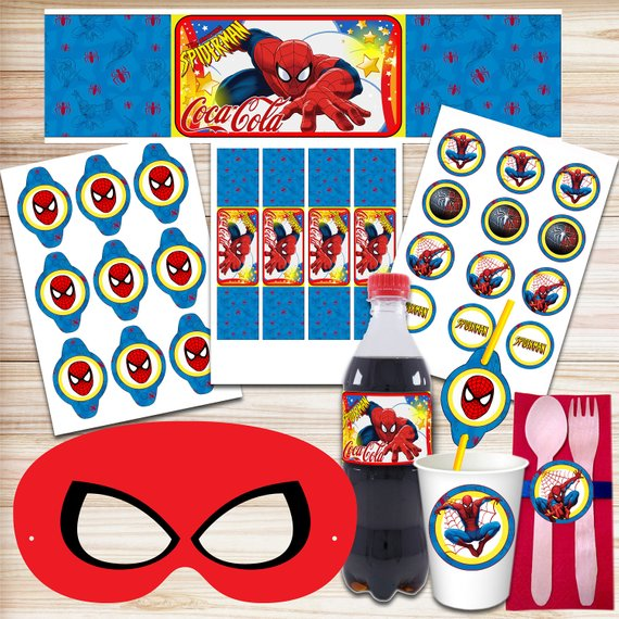 Spiderman Party Diy Kit Spiderman Banner Spiderman Invitations