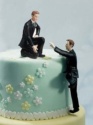 fbe44c6d81c Same-sex wedding reception decorations. Gay Climbing Groom and Helpful  Groom Mix   by weddingcollectibles