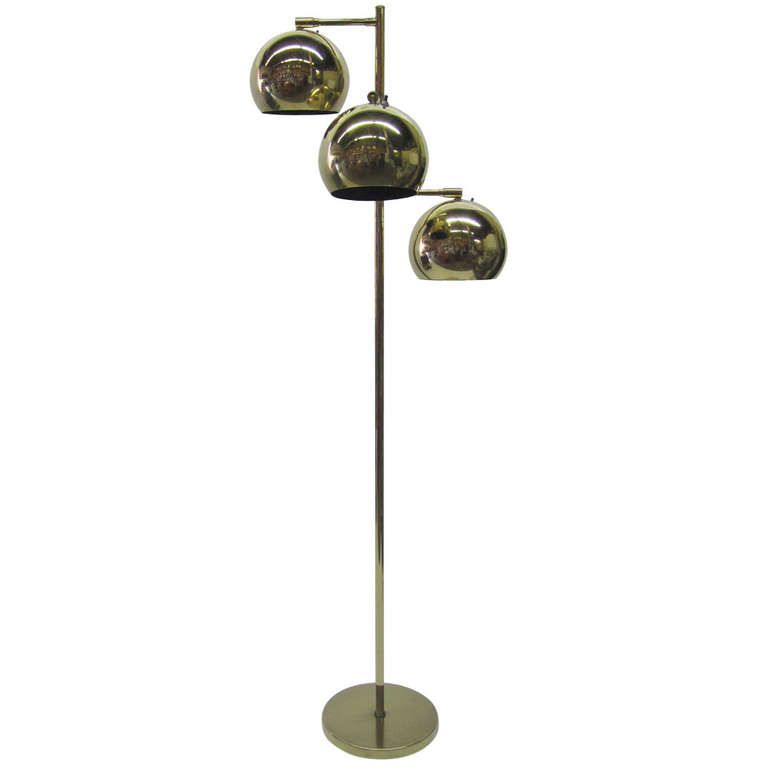 Three tier brass floor lamp by robert sonneman brass floor lamp three tier brass floor lamp by robert sonneman from a unique collection of antique mozeypictures Images