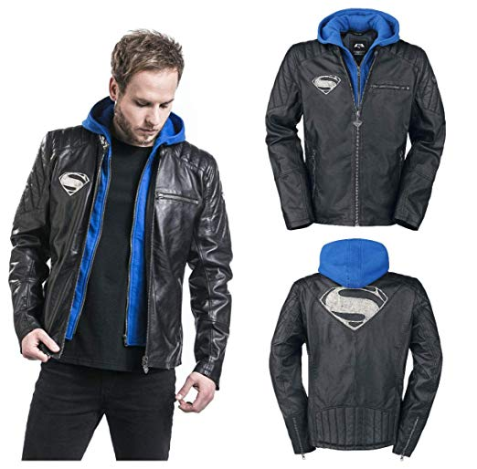 Men Super Logo Real Leather Motorcycle Hooded Jacket at