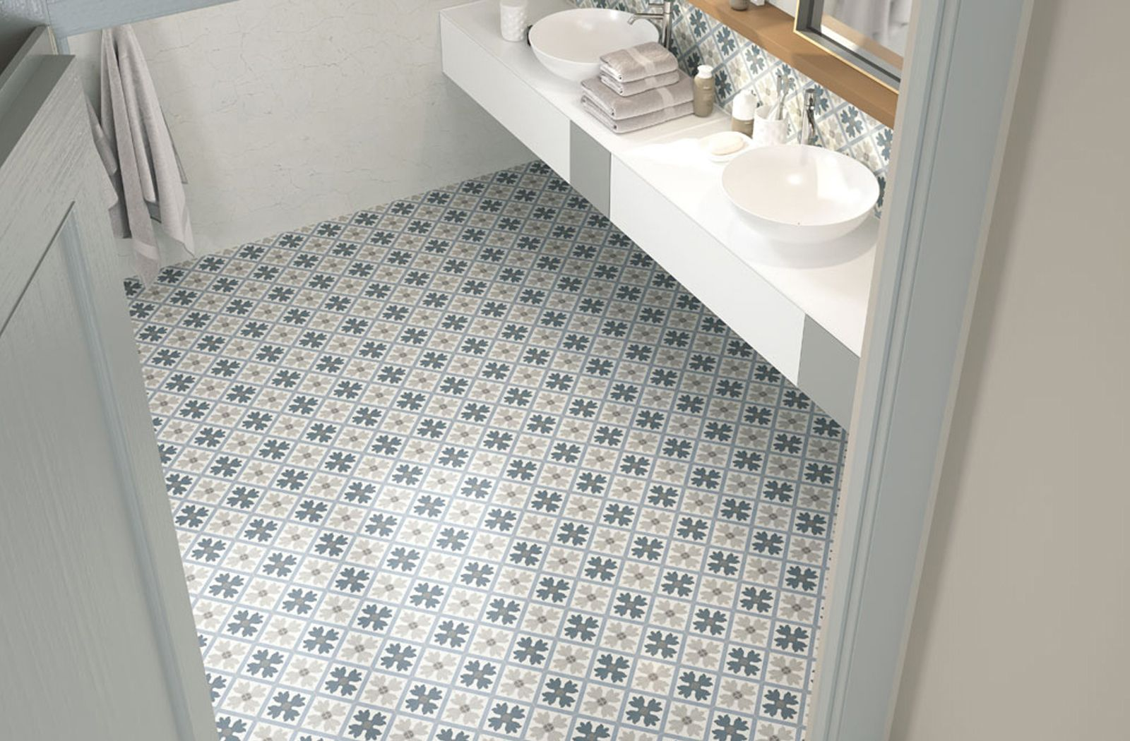 Bathroom Floor Patterns With Fiorella Tile Collection From Ape Ceramica