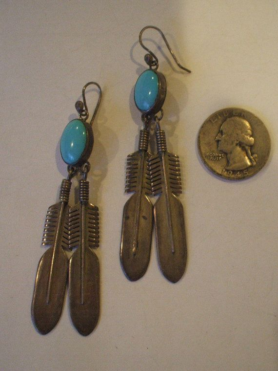 Big Vintage NAVAJO Sterling Silver & TURQUOISE Feather Dangle Pierced EARRINGS