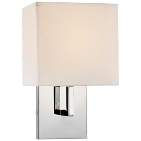 George Kovacs Fabric Shade Chrome High Wall Sconce Style - Bathroom wall sconces with fabric shades