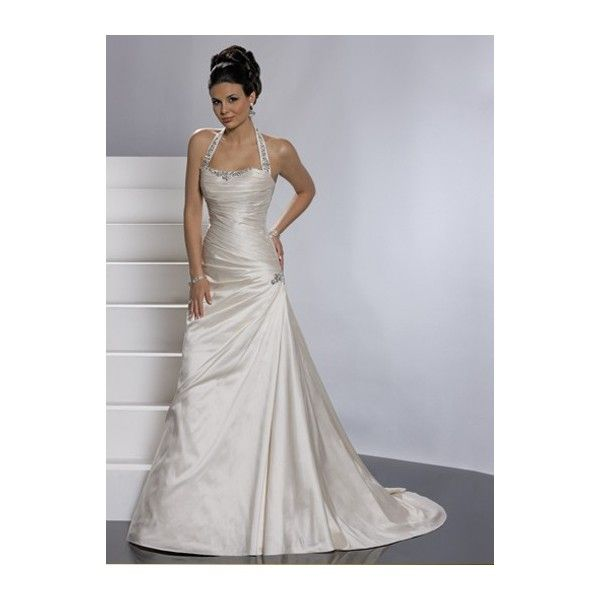 A Line Halter Wedding Dresses