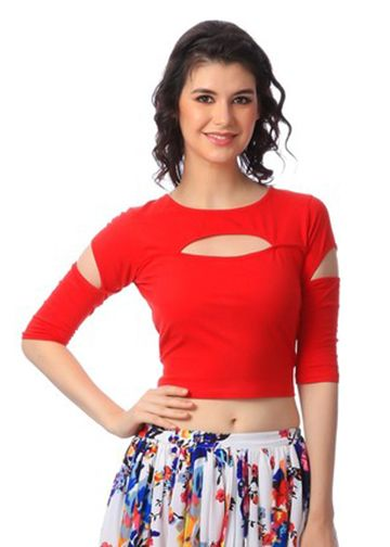 354b86a36ac Cation Red Cotton Solid Crop Top  CropTops  Red  Solid