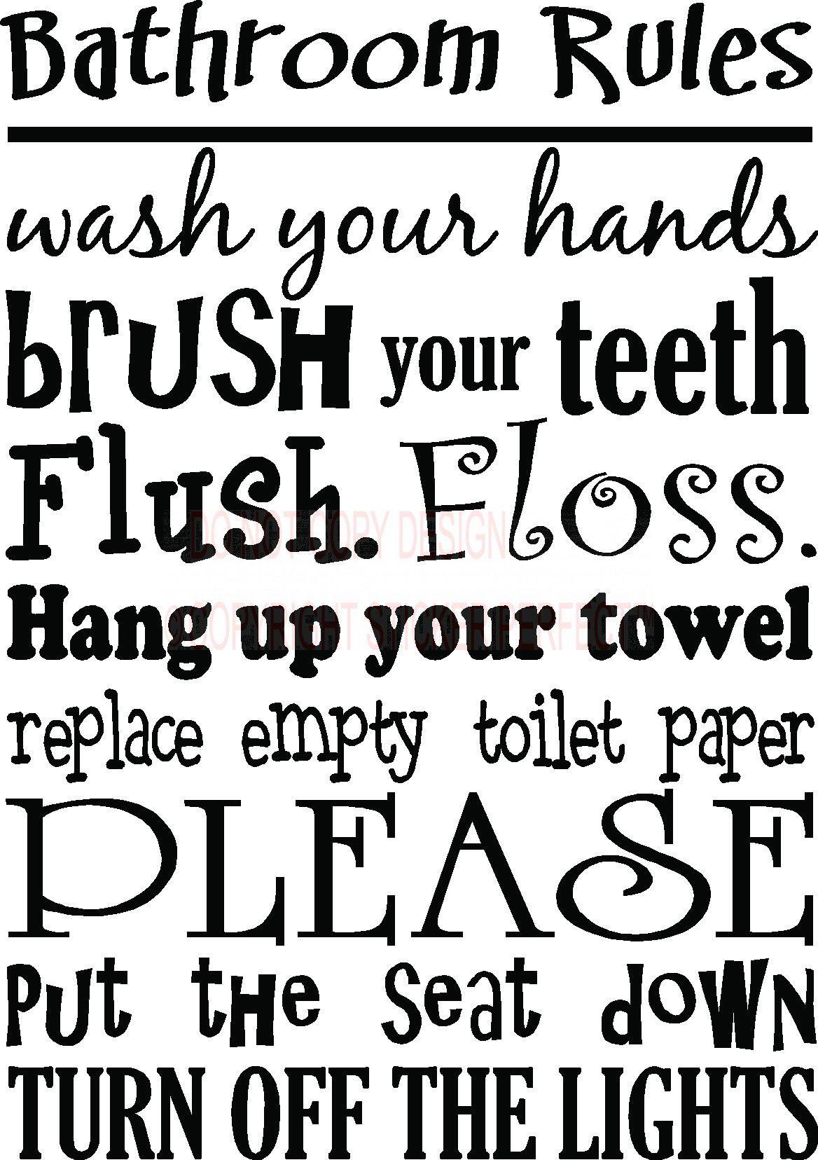 7 Best Images Of Free Printable Decals Sayings Cute Bathroom