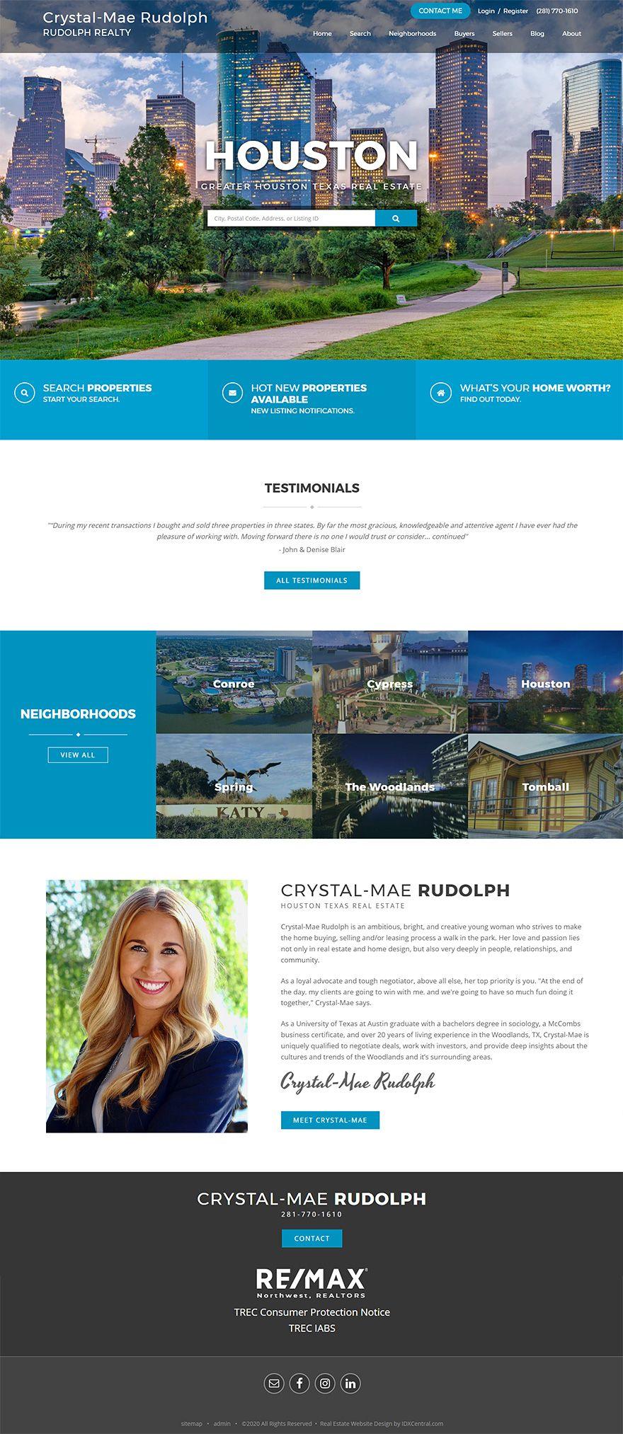 Texas Houston Texasrealtor Crystal Mae Rudolph S Website Is Built On Our Popular Wordpress R In 2020 Real Estate Website Design Realtor Websites Real Estate Website