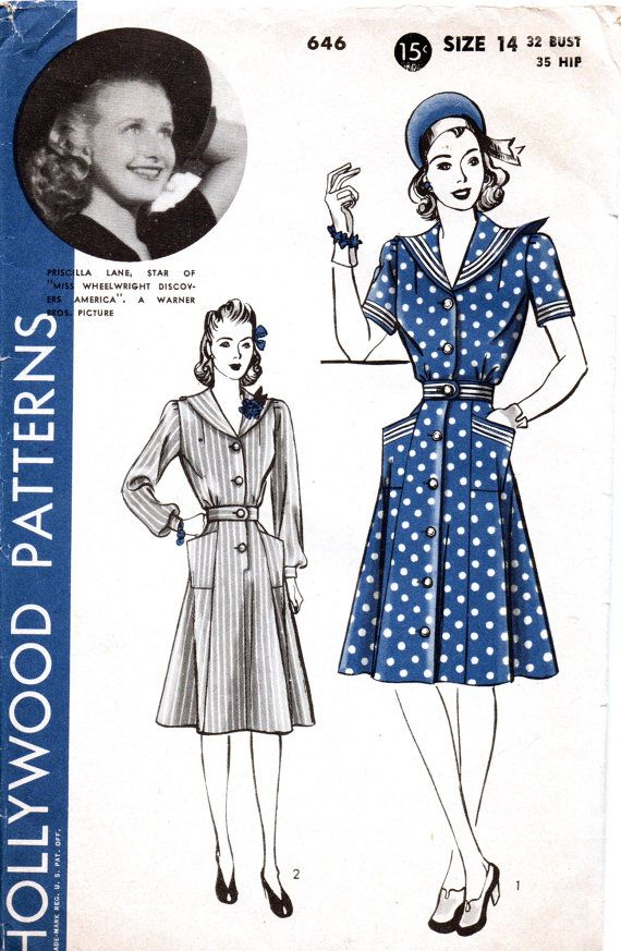 1940s Vintage Hollywood Sewing Pattern 646 - One Piece Dress with ...