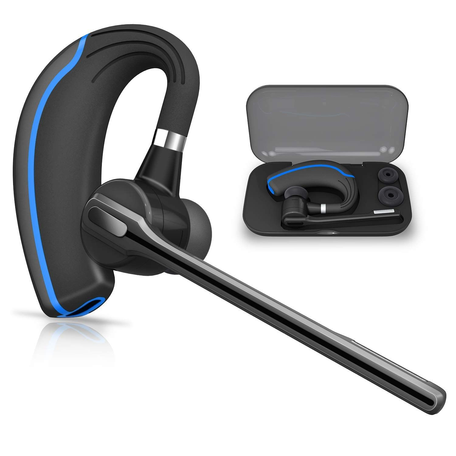 17ddd6907bf Bluetooth Headset HONSHOOP Bluetooth 5.0 in Ear Bluetooth Earpiece Wireless  Headphones Noise Reduction Earphones with Mic for Business/Workout/Driving  Blue ...
