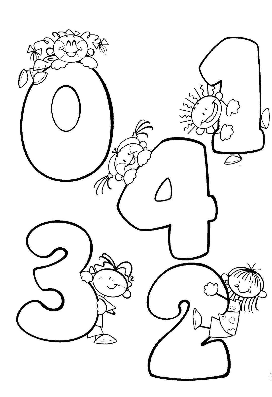 Dibujos Para Colorear Preescolar Numeros 0 1 2 3 4 Cero Uno Dos Tres Cuatro