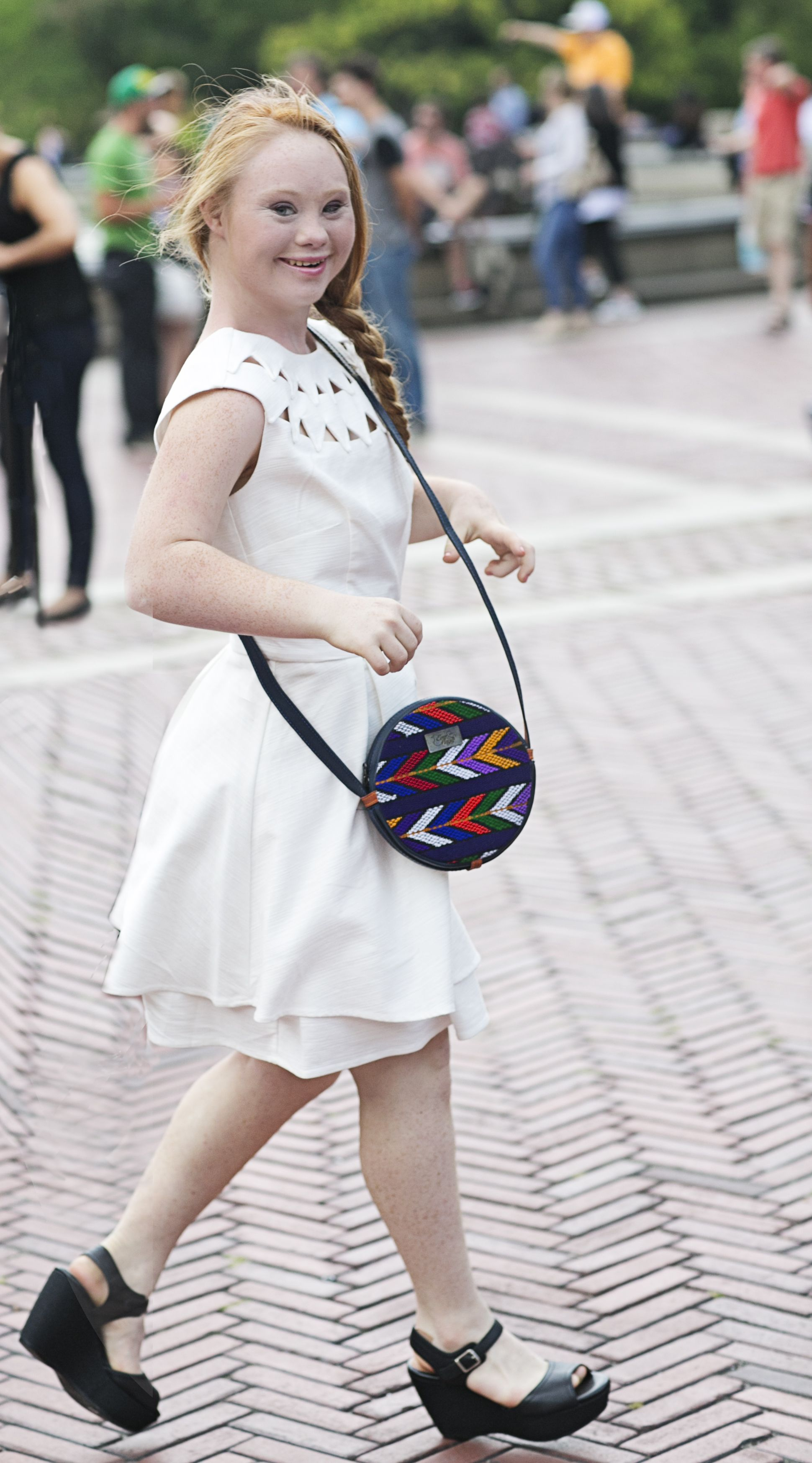 """As featured in Cosmo, People, & PopSugar, """"The Madeline"""" is the newest line of handbags from EverMaya. Named for and inspired by Madeline Stuart, 5% of every purchase will be donated to The National Down Syndrome Society."""