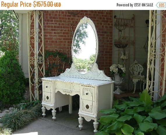 ON SALE CUSTOM Vanity Order An Antique Vanity And Mirror To Be Restored and Painted to Your Specs The Shabby Chic Furniture With Nationwide