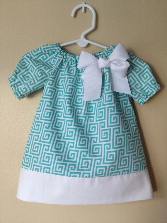 Baby Girl Turquoise Peasant Dress w/ Detachable Bow  and Matching Hair Bow- 0 to 3 months - 6M - 12M - 18M - 2T - 3T - 4T