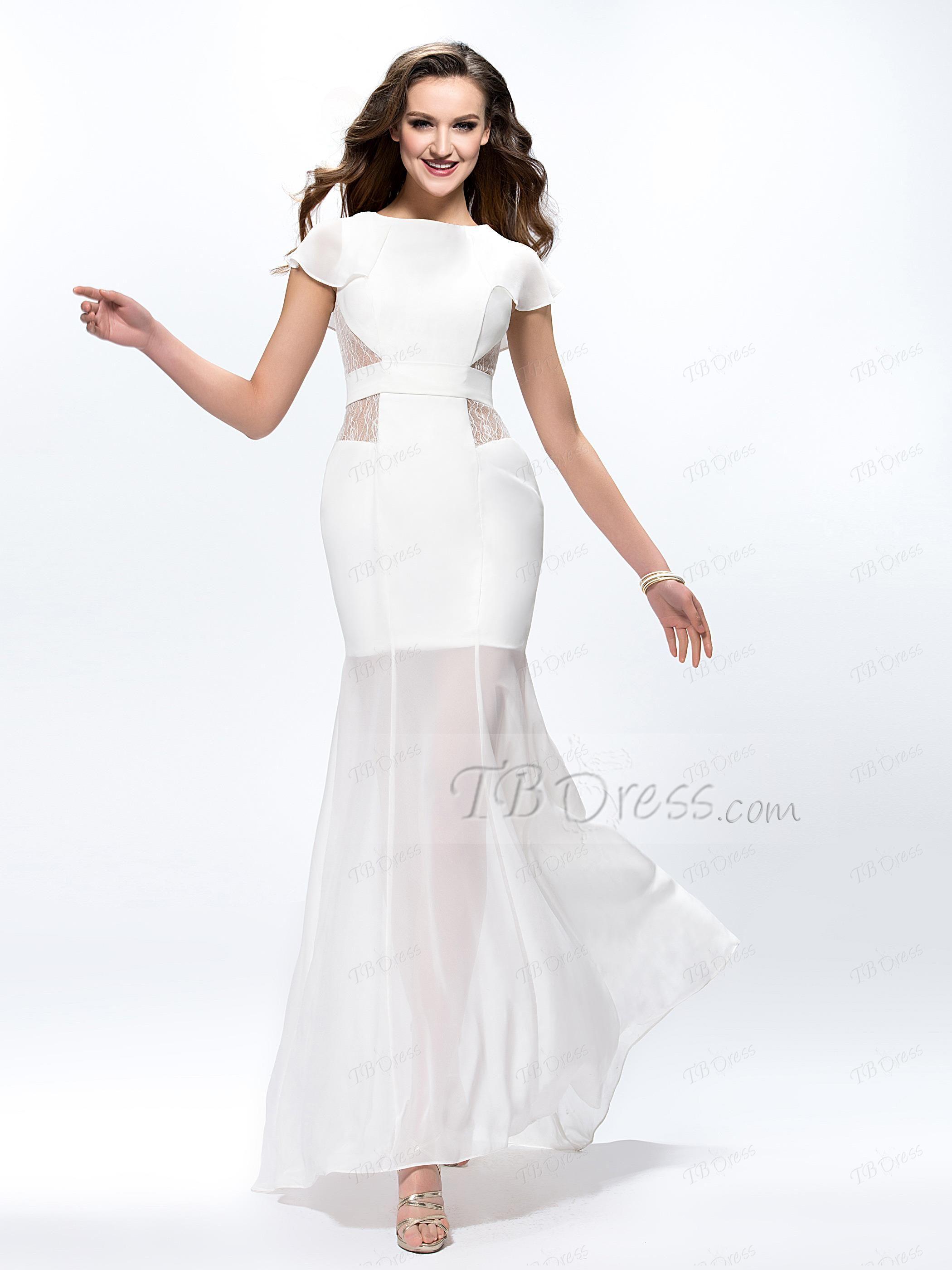 HOt sale fashion Unique Design white prom gowns Trumpet Lace Cap ...