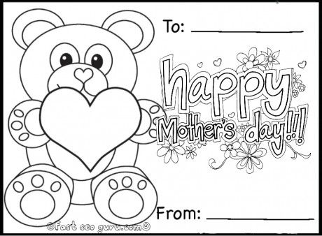 free printable happy mothers day teddy bear card coloring in pages for for kids. Black Bedroom Furniture Sets. Home Design Ideas
