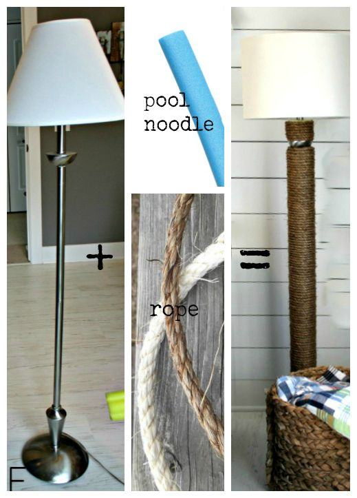 Floor Lamp Redo Using A Pool Noodle Diy Floor Lamp Diy Flooring