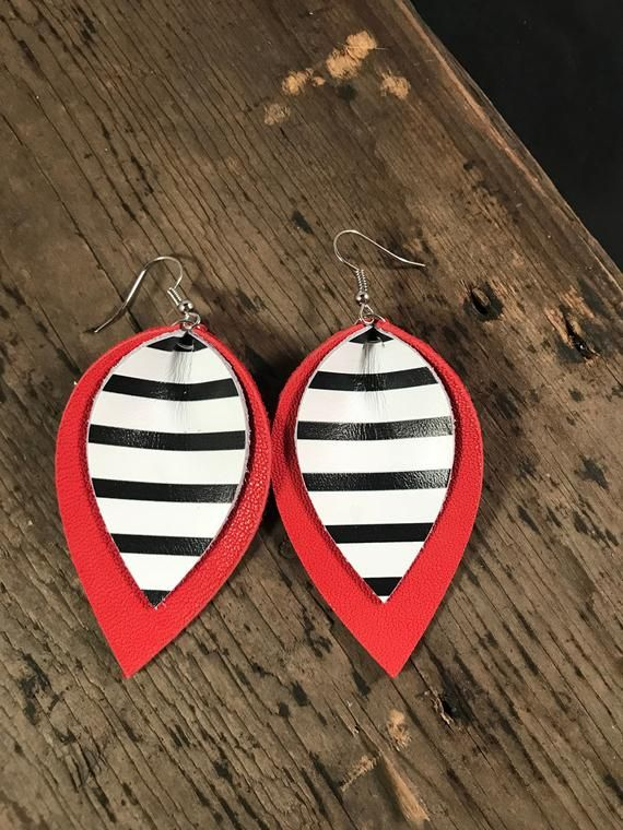 Photo of Striped Genuine Leather Earrings, Red Black and White Leather Jewelry, Summer Accessory, Gifts for Her, Gifts for Wife, Gifts for Grad