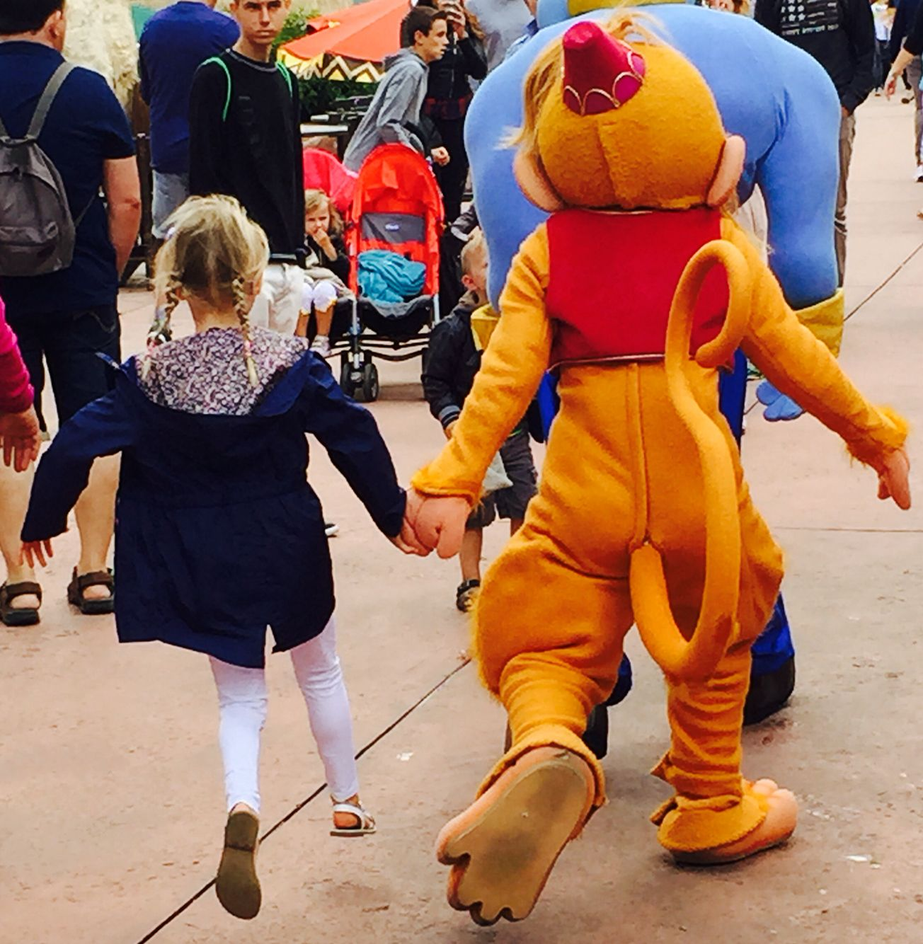 Disneyland Paris 2015 My daughter skipping with Abu. Magical