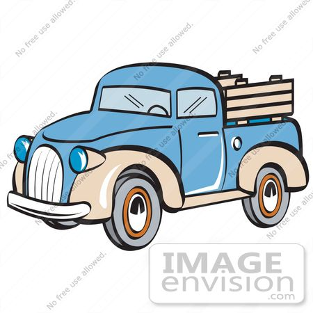 29450 Royalty Free Cartoon Clip Art Of A Blue And Tan Pickup Truck