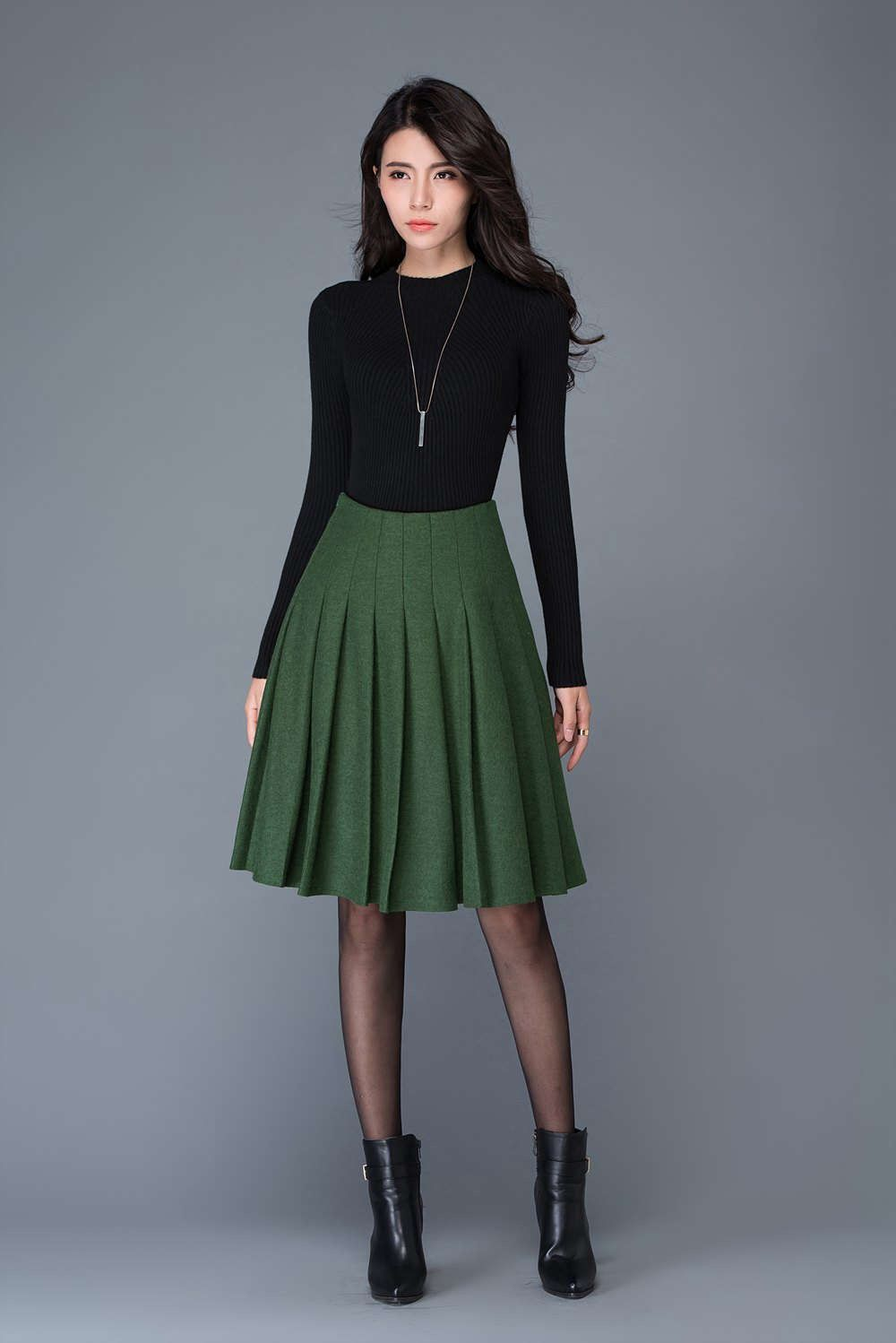 3b492feef47 Green skirt wool skirt Pleated skirt  winter midi skirt  skater skirt