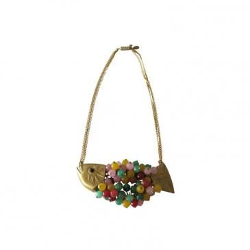 Collar pez piedras doble cadena colores shoft. Circo Jewellery